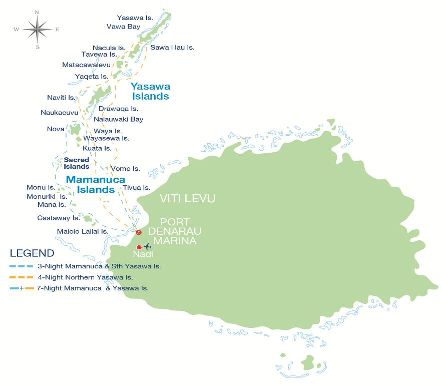 Yasawa and Mamanuca Cruise Map
